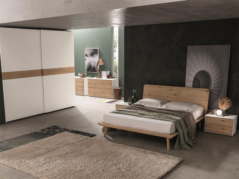 Camera natura con letto legno rovere nodato ilma mobili for Lucia arredamenti triggiano