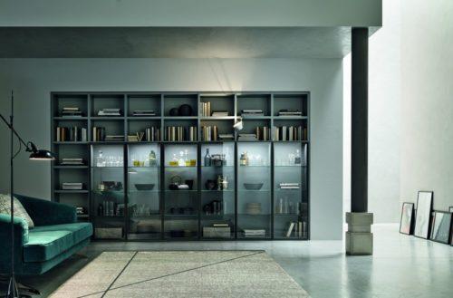 Libreria Con Ante Di Vetro.0017 Libreria Moderna Con Ante In Vetro Ilma Mobili Produzione E